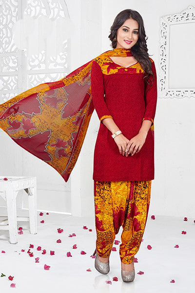 Red Yellow Synthetic Crepe Printed Unstitched Dress Material