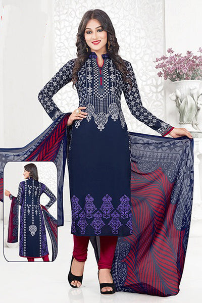 Blue Red Synthetic Crepe Printed Unstitched Dress Material