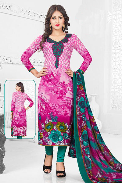Pink Green Synthetic Crepe Printed Unstitched Dress Material