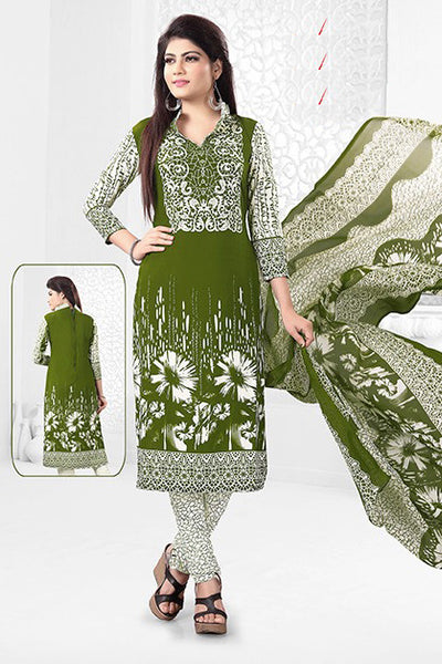 Green White Synthetic Crepe Printed Unstitched Dress Material