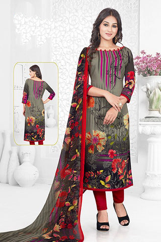 Grey Red Synthetic Crepe Printed Unstitched Dress Material