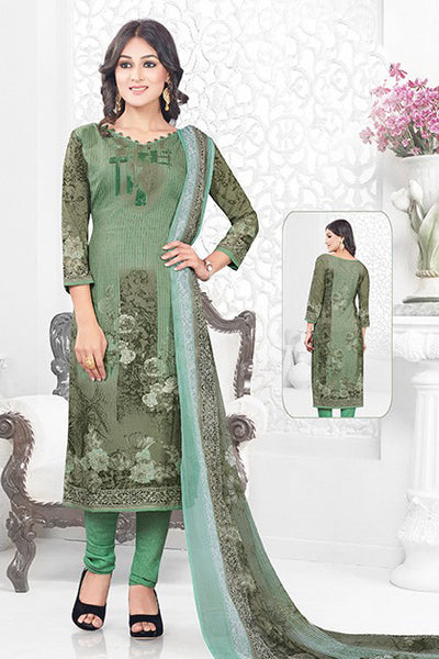 Green Synthetic Crepe Printed Unstitched Dress Material
