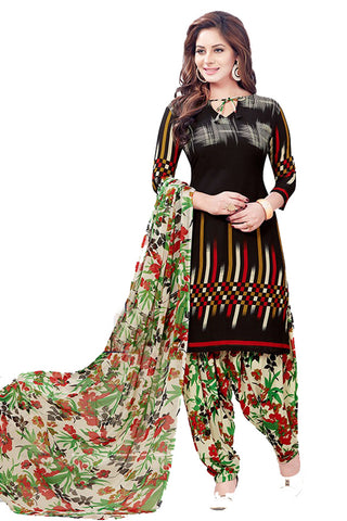 Black Synthetic Crepe Printed Unstitched Dress Material