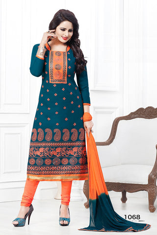 Blue Orange Cotton Embroidered Semistitched Salwar Suit