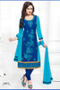 Blue Cotton Embroidered Semistitched Salwar Suit