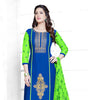 Blue Green Cotton Embroidered Semistitched Salwar Suit