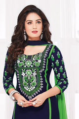 Black Green Pure Cotton Embroidered Semistitched Salwar Suit
