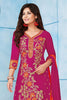 Pink Orange Pure Cotton Embroidered Semistitched Salwar Suit