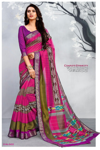 Pink Cotton Silk Printed Lace Border Saree With Blouse Fabric