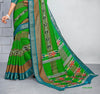 Green Cotton Silk Printed Lace Border Saree With Blouse Fabric