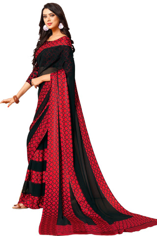 Black Red Georgette Satin Printed Saree With Blouse Fabric