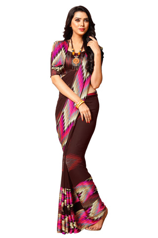 Brown Georgette Satin Printed Saree With Blouse Fabric