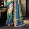 Cream Tussar Silk Zari Work Saree With Blouse Fabric
