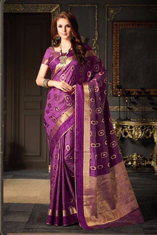 Purple Tussar Silk Zari Work Saree With Blouse Fabric