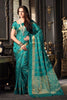 Green Tussar Silk Zari Work Saree With Blouse Fabric