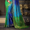 Blue Green Tussar Silk Zari Work Saree With Blouse Fabric