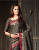 Black Tussar Silk Zari Work Saree With Blouse Fabric