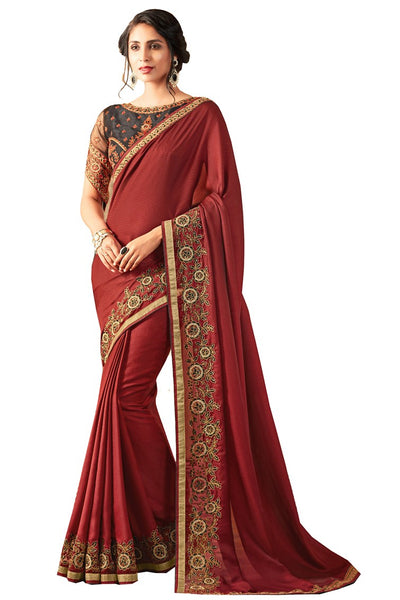Maroon Black Georgette Embroidered Party Wear Saree With Blouse Fabric