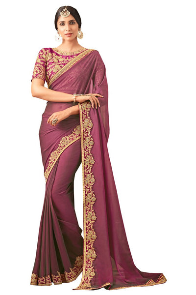 Purple Georgette Embroidered Wedding Wear Saree With Blouse Fabric