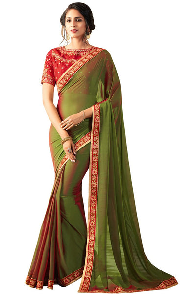 Green Red Georgette Embroidered Party Wear Saree With Blouse Fabric
