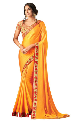 Yellow Beige Silk Embroidered Wedding Wear Saree With Blouse Fabric