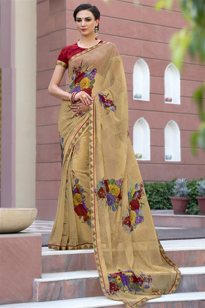 Beige Chiffon Printed Lace Border Saree With Blouse Fabric