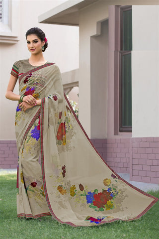 Multicolor Chiffon Printed Lace Border Saree With Blouse Fabric