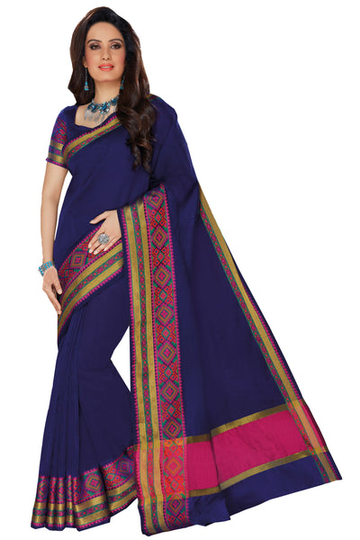 Navy Blue Chanderi Cotton Zari Work Saree With Blouse Fabric