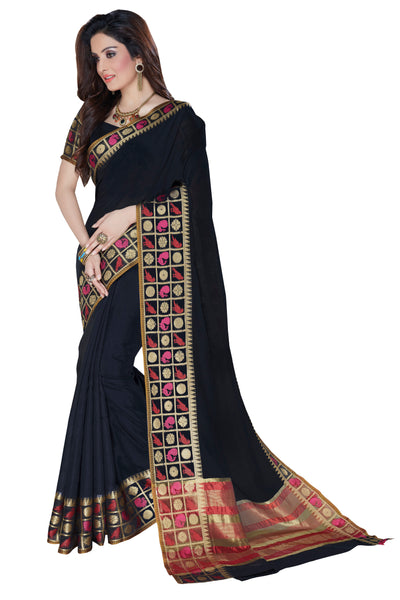 Black Chanderi Cotton Zari Work Saree With Blouse Fabric