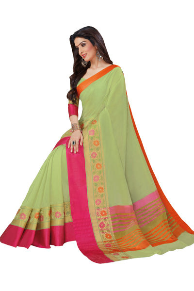 Green Chanderi Cotton Zari Work Saree With Blouse Fabric
