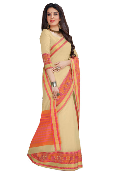Cream Chanderi Cotton Zari Work Saree With Blouse Fabric