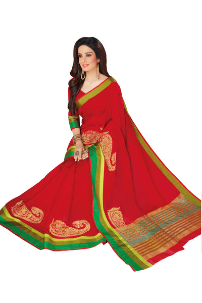 Red Chanderi Cotton Zari Work Saree With Blouse Fabric