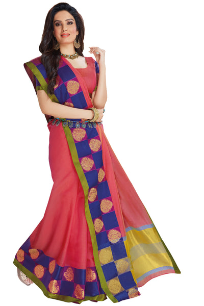 Pink Chanderi Cotton Zari Work Saree With Blouse Fabric