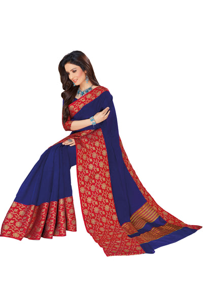 Blue Red Chanderi Cotton Zari Work Saree With Blouse Fabric