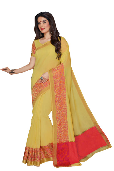 Yellow Pink Chanderi Cotton Zari Work Saree With Blouse Fabric