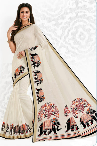 Off White Cotton Printed Saree With Blouse Fabric