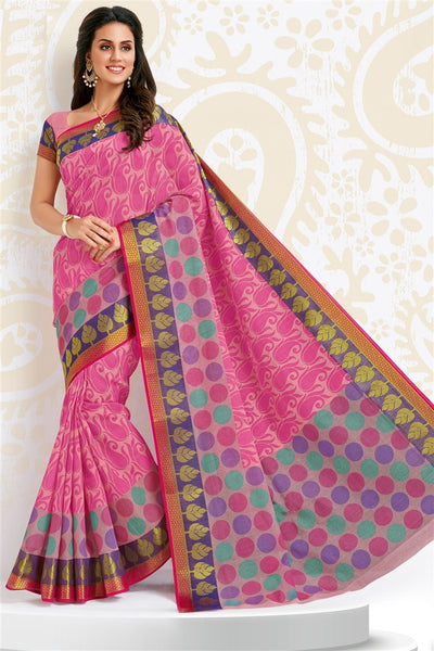 Pink Cotton Printed Saree With Blouse Fabric