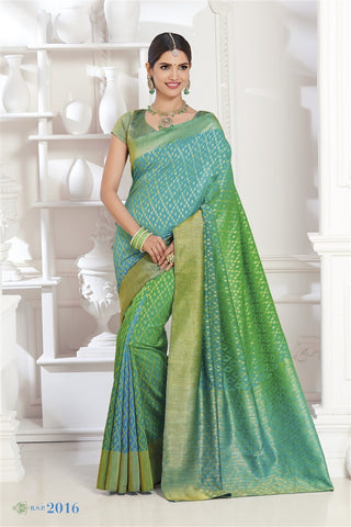 Green Blue Silk Zari Work Festival Diwali Wear Saree With Blouse Fabric
