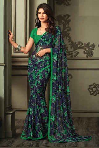 Blue Green Georgette Floral Printed Lace Border Saree With Blouse Fabric