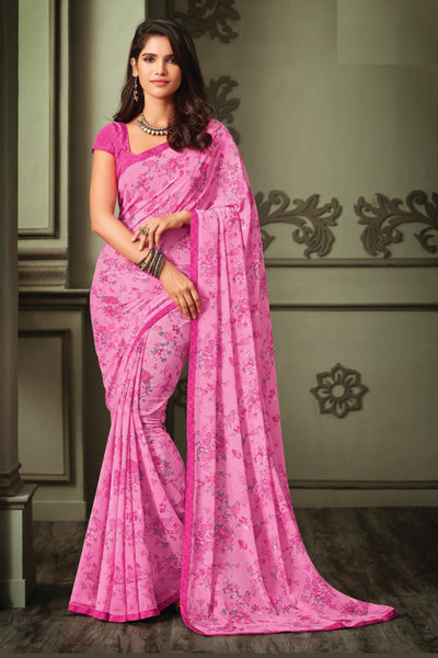 Pink Georgette Floral Printed Lace Border Saree With Blouse Fabric