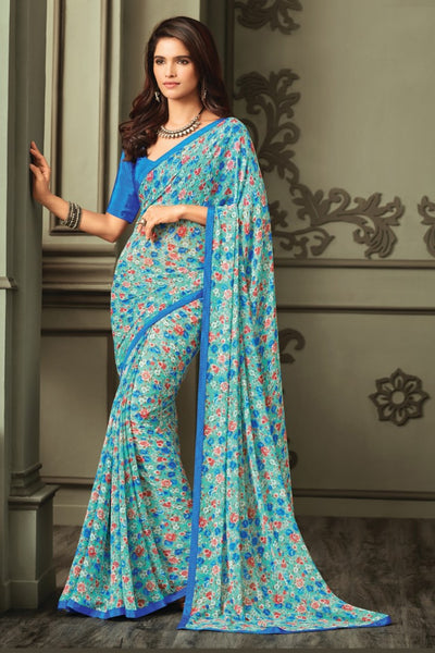 Blue Georgette Floral Printed Lace Border Saree With Blouse Fabric