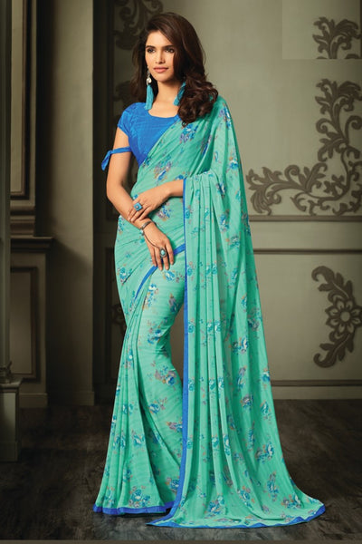 Green Blue Georgette Floral Printed Lace Border Saree With Blouse Fabric