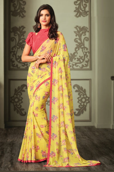 Yellow Red Georgette Floral Printed Lace Border Saree With Blouse Fabric