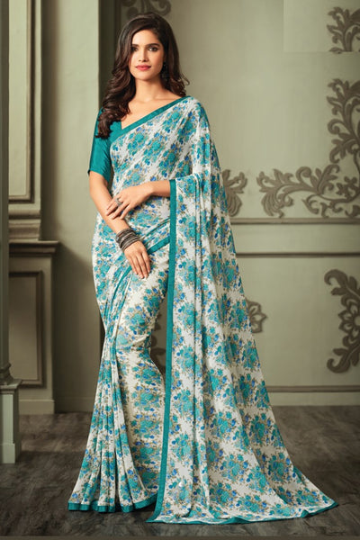 Multicolor Georgette Floral Printed Lace Border Saree With Blouse Fabric