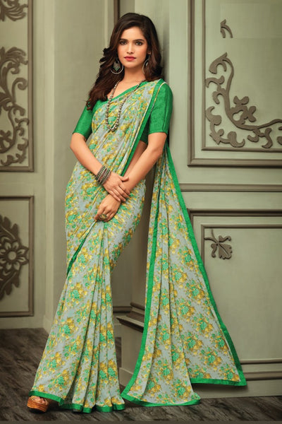 Grey Green Georgette Floral Printed Lace Border Saree With Blouse Fabric