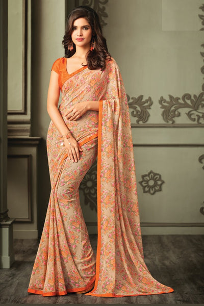 Beige Orange Georgette Floral Printed Lace Border Saree With Blouse Fabric