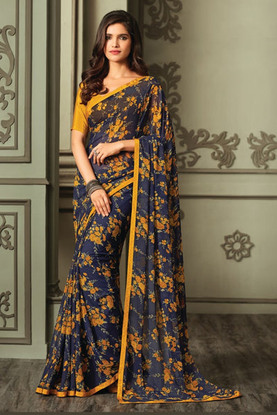 Blue Yellow Georgette Floral Printed Lace Border Saree With Blouse Fabric