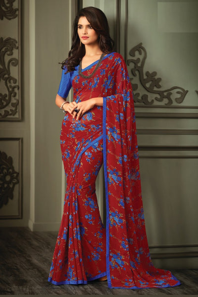 Red Blue Georgette Floral Printed Lace Border Saree With Blouse Fabric