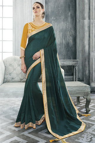 Green Bhagalpuri Silk Lace Border Saree With Designer Blouse Fabric
