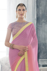 Pink Georgette Lace Border Saree With Designer Blouse Fabric